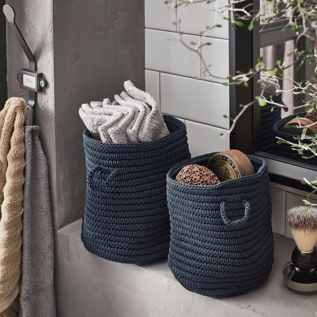 Ikea Nordrana Baskets on bathroom counter with towels