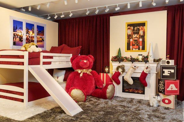fao schwarz kids room with bunk bed and slide