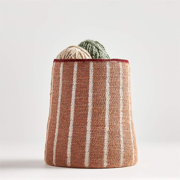 Crate & Barrel Anise Vertical Striped Basket with yarn