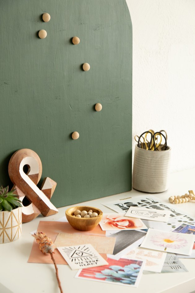DIY Arched Wood Mood Board with inspiring images