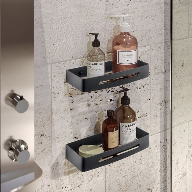 best shower caddies, stone, soaps, shampoos.