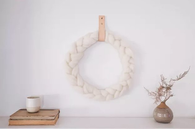 White wool braided wreath