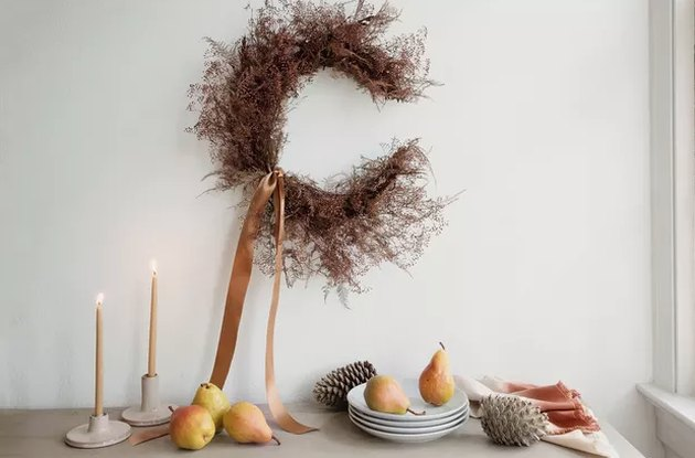 Crescent dried floral wreath