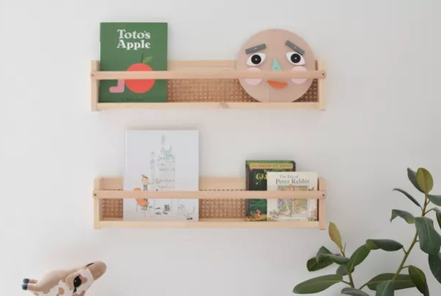 Cane and wood shelves in kid's room