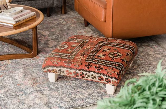 Ottoman with vintage rug fabric