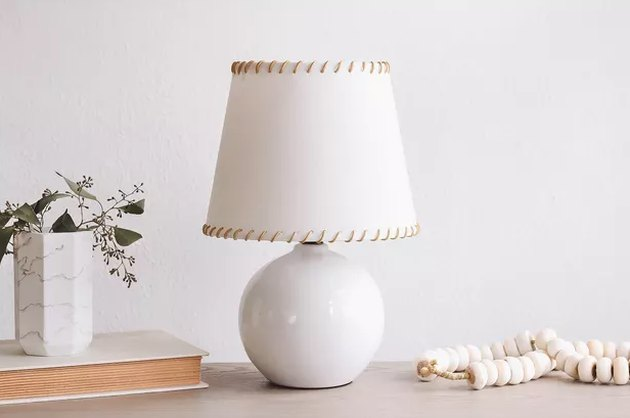 Stitched IKEA lampshade with leather