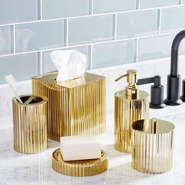 Fluted Metal Bath Accessories