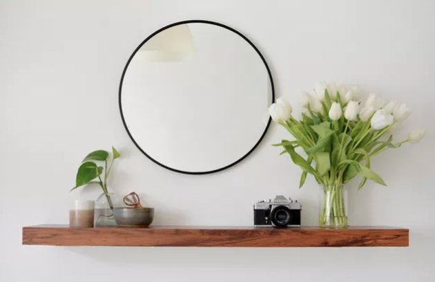 Floating wood shelf with mirror