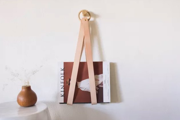 Leather and wood ring magazine holder