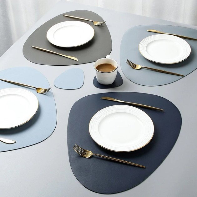 table with leather placemats