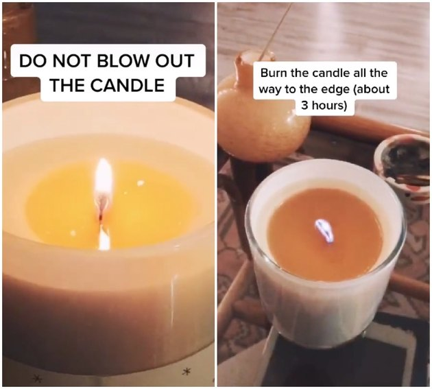 candle burning all the way to the edge to create candle memory
