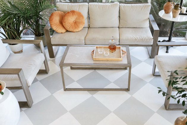 Painted white and grey checkerboard floor