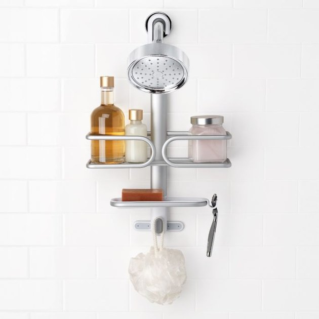 Aluminum best shower caddies, shower head, soaps, scrub, razor.