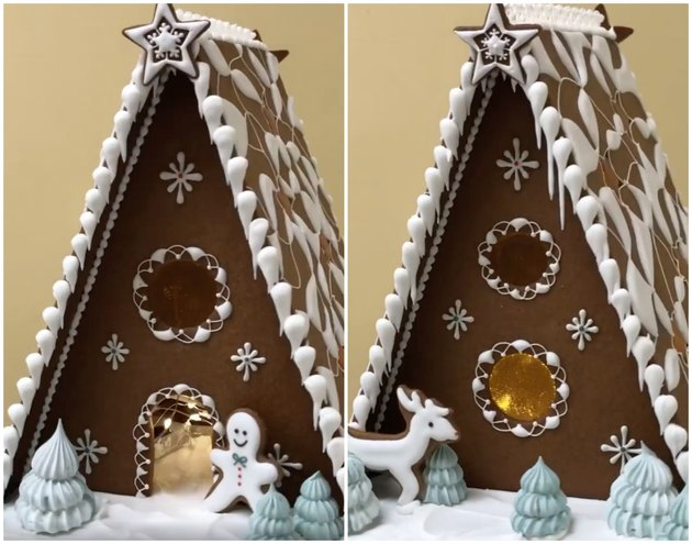 the royal family gingerbread house with meringue trees and lights