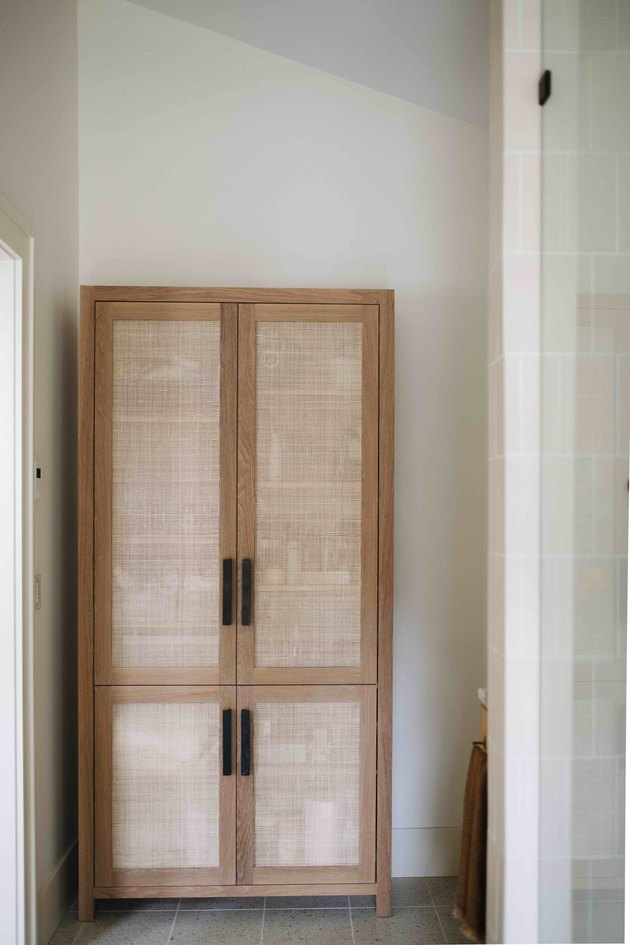 Modern bathroom storage with a cabinet by Prospect Refuge Studio