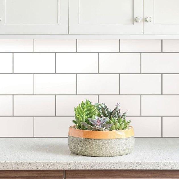 removable white subway tile backsplash