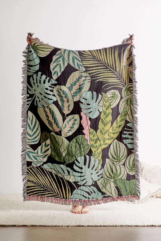 botanical woven throw blanket