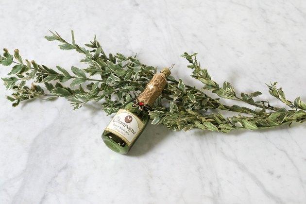 Mouthblown champagne ornament