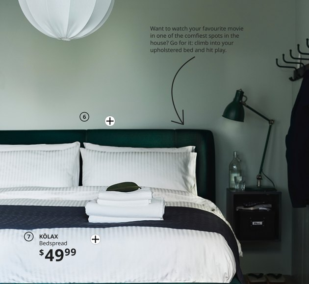 mint green wall in bedroom in ikea 2021 catalog