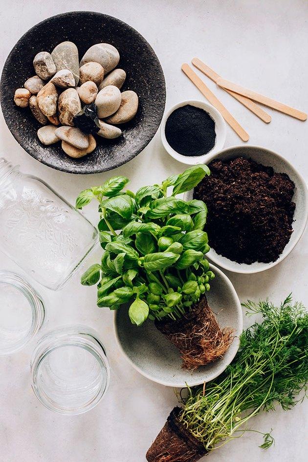 Materials needed for an indoor herb garden