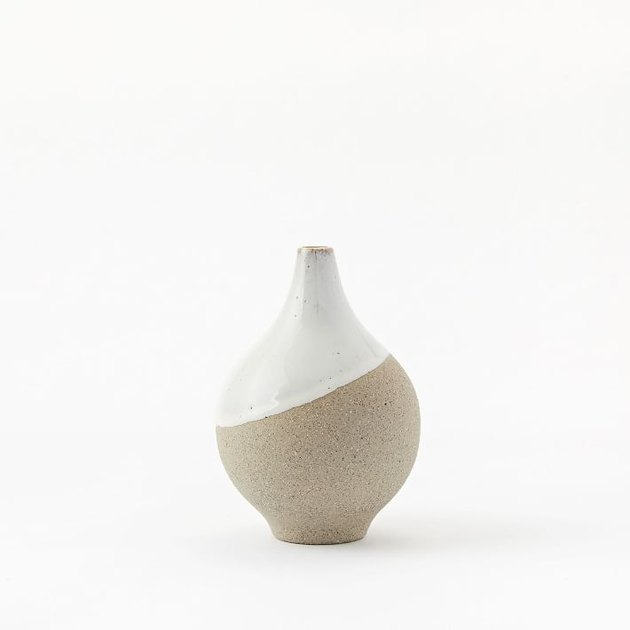 stoneware vase in earthy hue and white