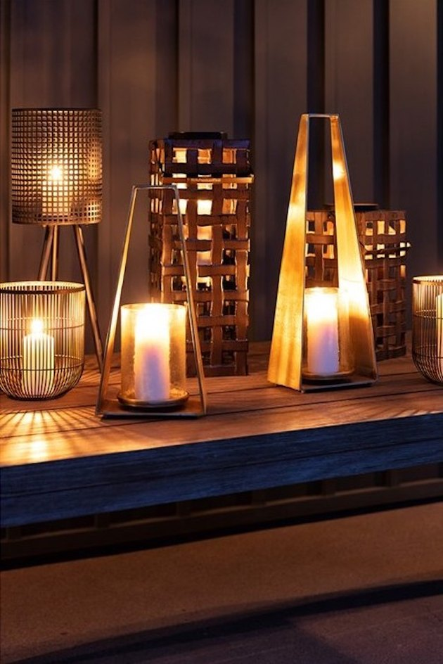 Living Spaces Metal Glass Candle Lantern