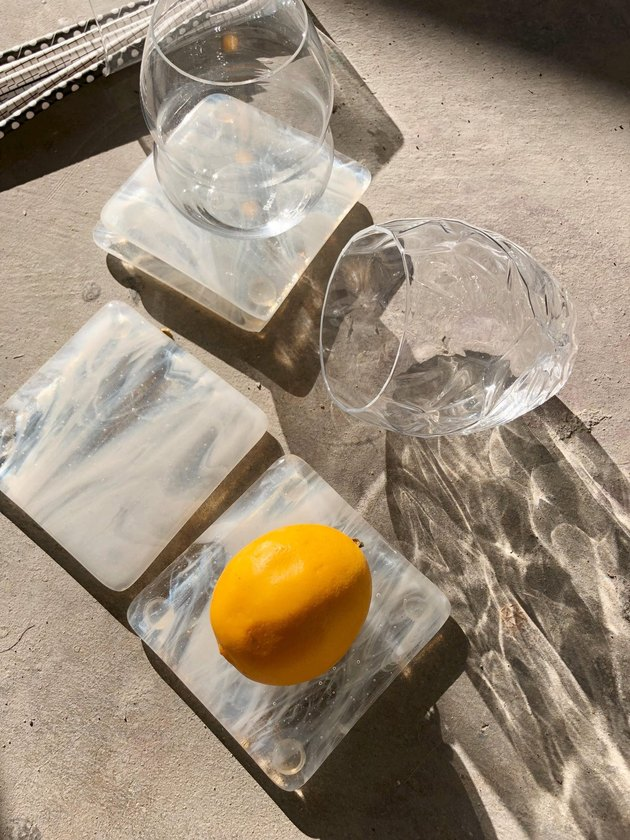 Made By Rheal Limited Batch Marbled Glass Coaster Set