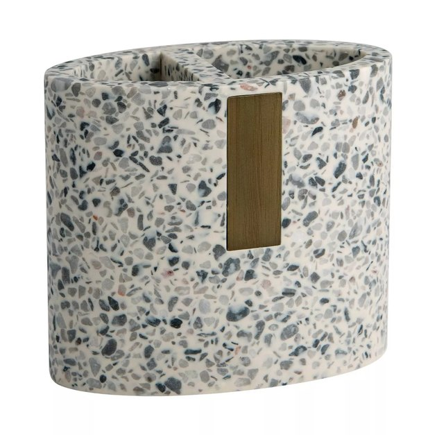 Gray terrazzo toothbrush holder with wood accent
