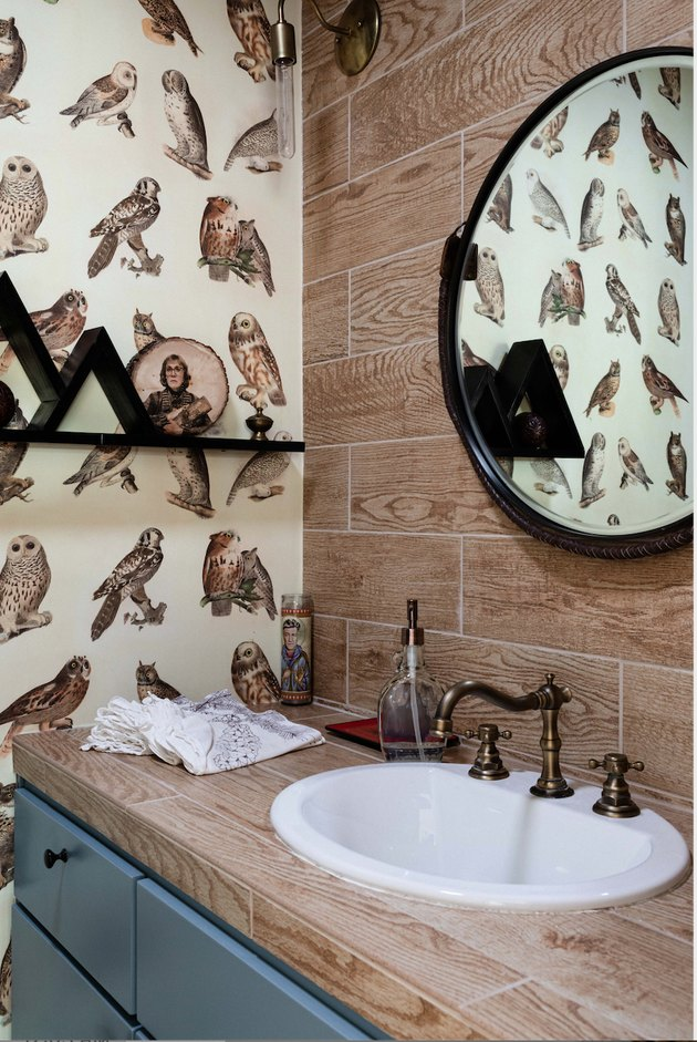 nature-inspired small bathroom wallpaper with owls