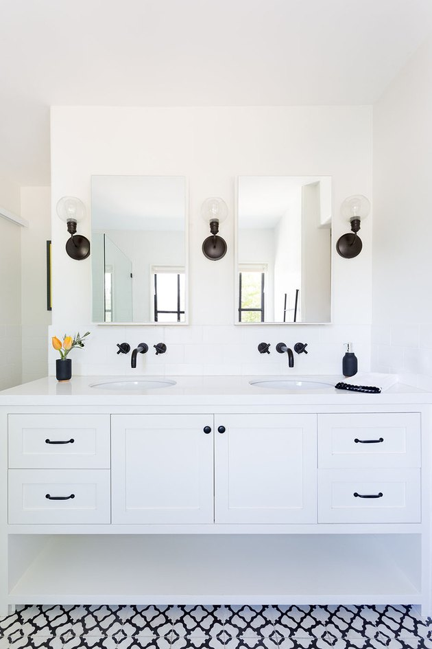 Matte Black Bathroom Faucet white vanity