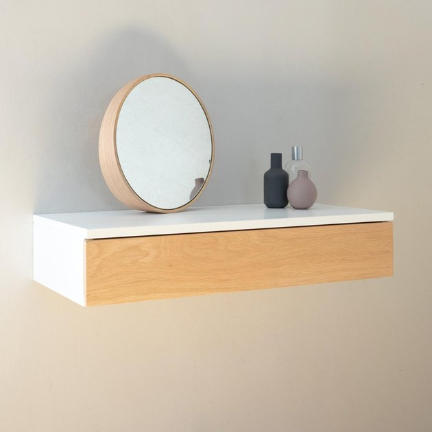 Urbansize Small Floating Dressing Table with Oak Drawer