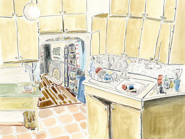 illustration of a kitchen with yellow cabinets