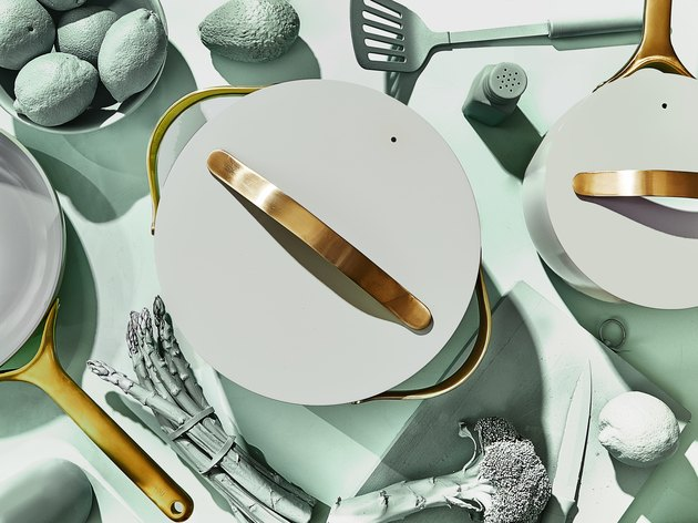 caraway x crate and barrel mint green and gold cookware