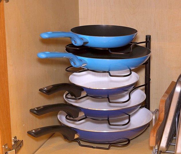 pan and pot lid organizer rack