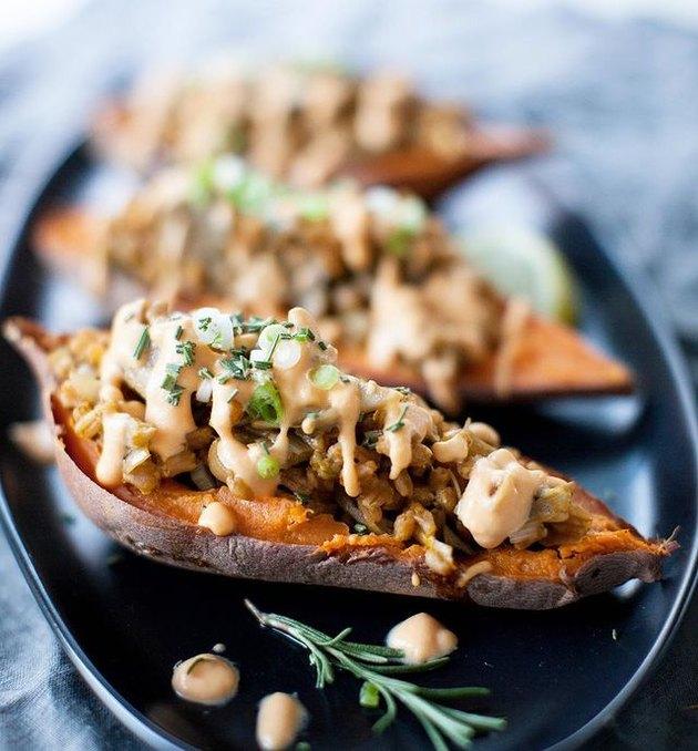 Sweet Potato Soul Wild Mushroom & Leek Stuffed Sweet Potatoes