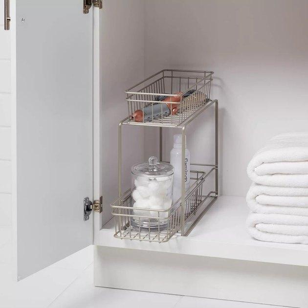 under sink bathroom storage rack with drawers