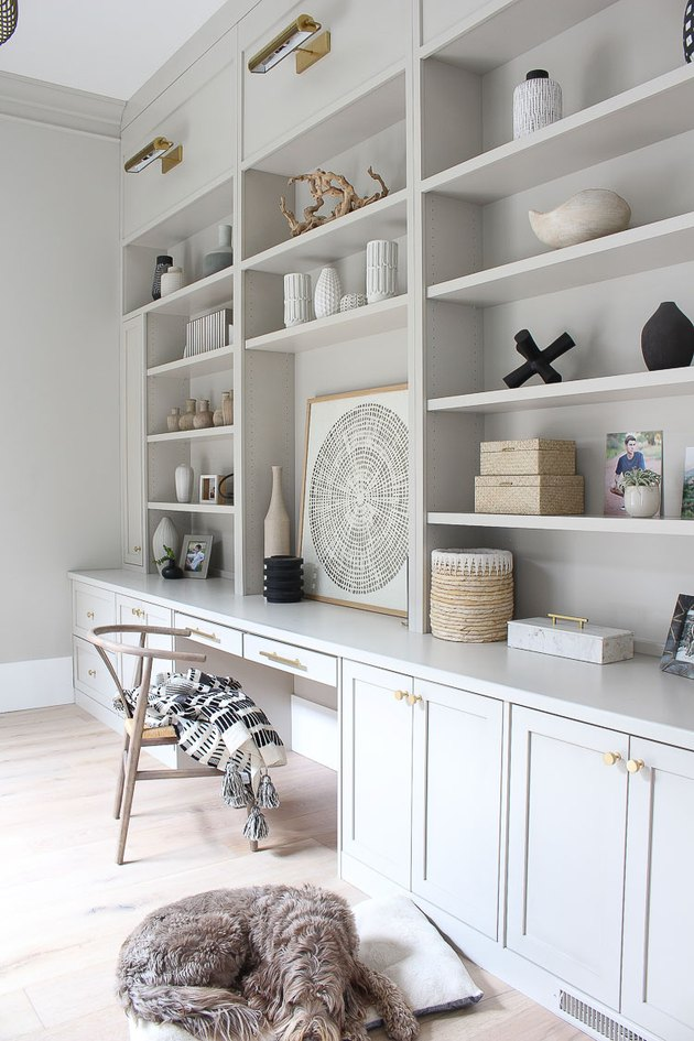 gray home office with built-ins and decorative objects