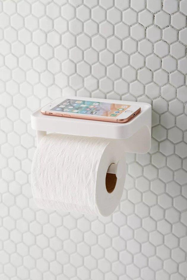 jumbo toilet paper holder with storage