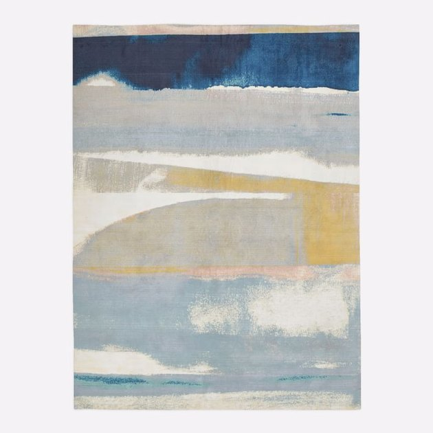 blue white and yellow abstract art area rug