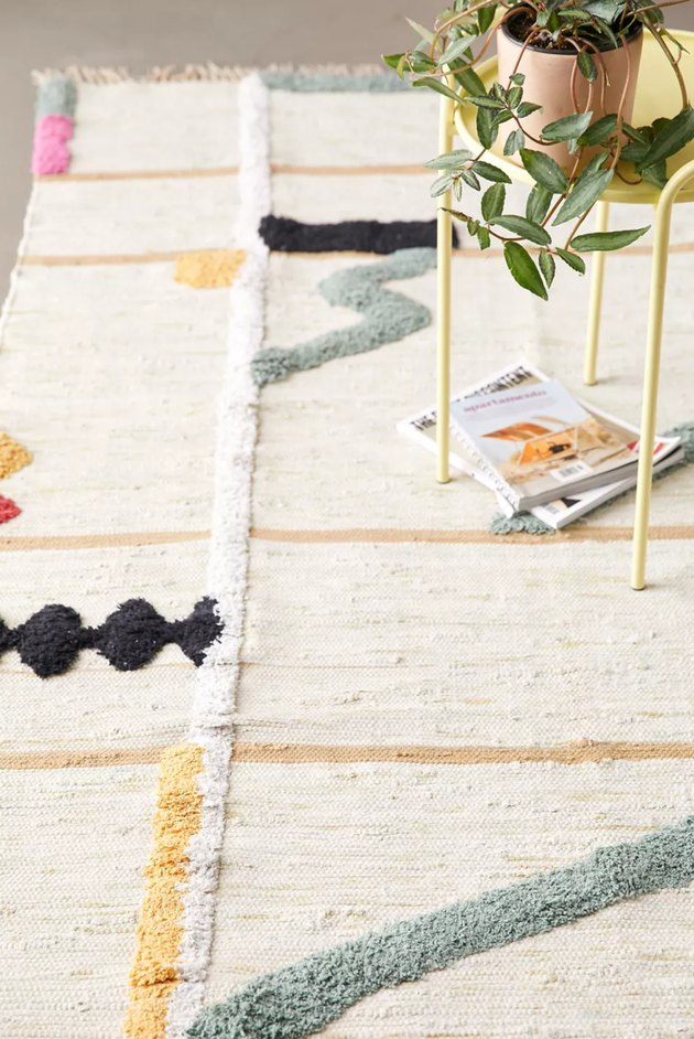 contemporary artistic area rug in multiple colors
