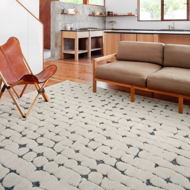 geometric patterned transitional area rug in white and gray in living room