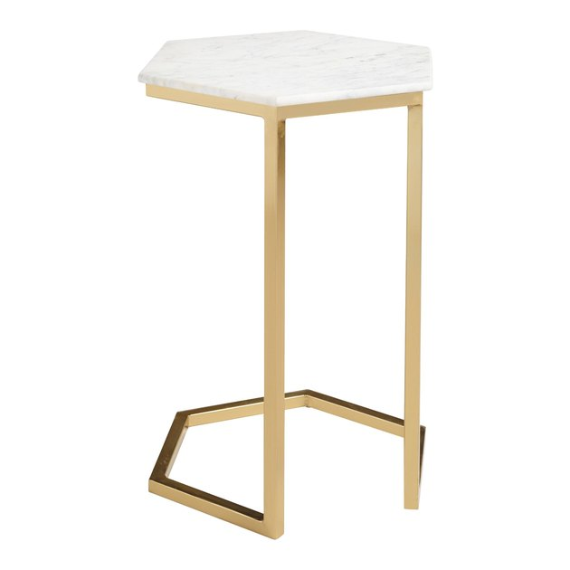 Natural Stone And Gold Metal Margaux Laptop Table