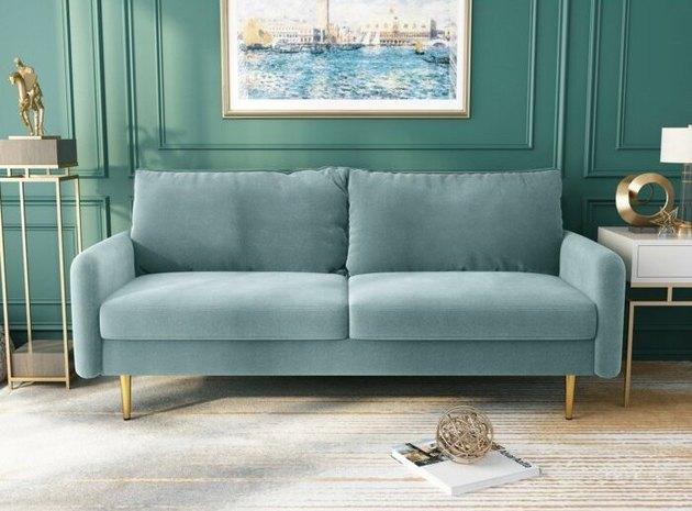 Everly Quinn Acotas Wide Velvet Round Arm Sofa