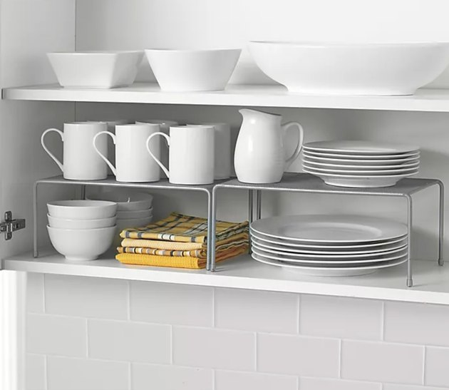 ORG Metal Mesh Expandable Cabinet Shelves in Metallic Chrome (Set of 2), $19.99