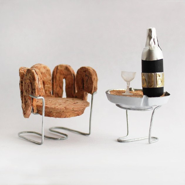 mini chair and side table made of cork
