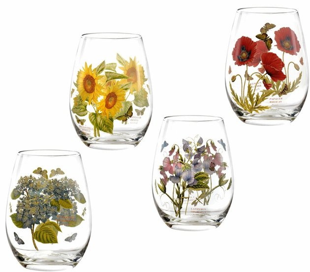 Botanic garden stemless wine glass set