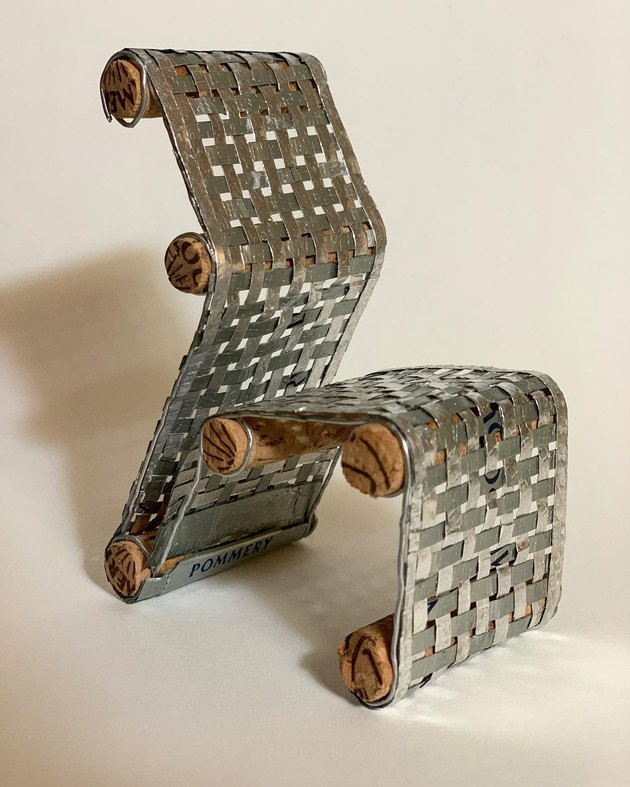 mini chair made of cork and metal material
