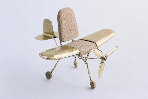 chair in the shape of an airplane made of cork