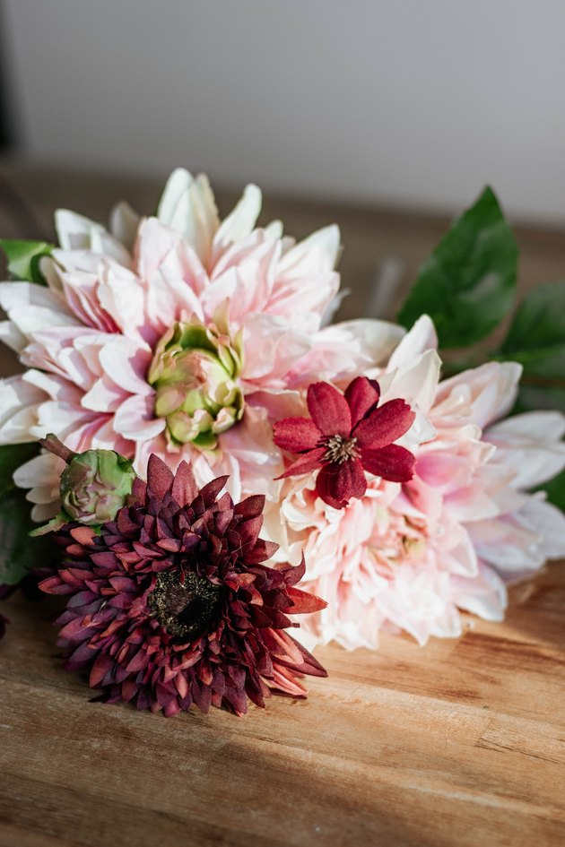 pink and red dahlias