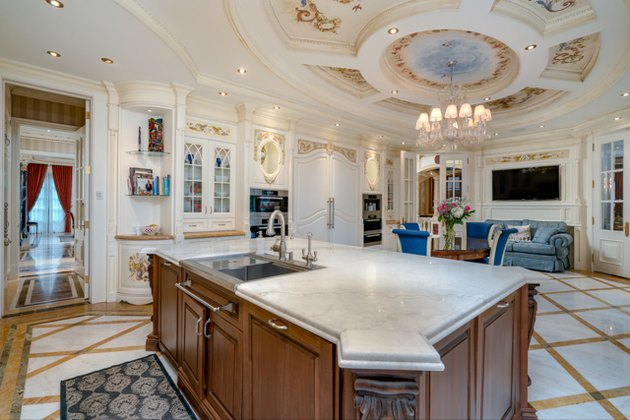 schitt's creek mansion kitchen and dining area at 30 fifeshire rd in toronto